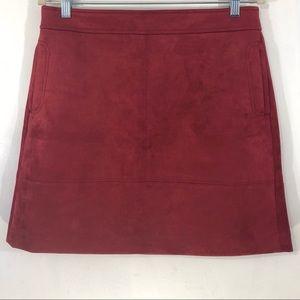 NWOT LOFT Suede Skirt Size 10 Dark Red